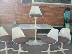 tulip table, chairs
